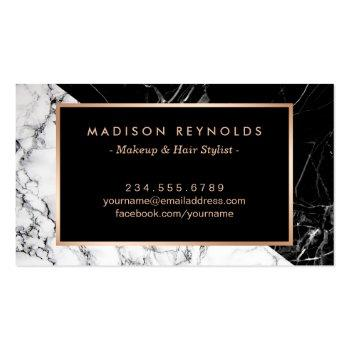 Small Makeup Artist Fashionable Mixed Black White Marble Business Card Back View