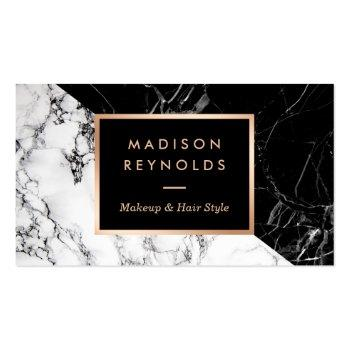 Small Makeup Artist Fashionable Mixed Black White Marble Business Card Front View