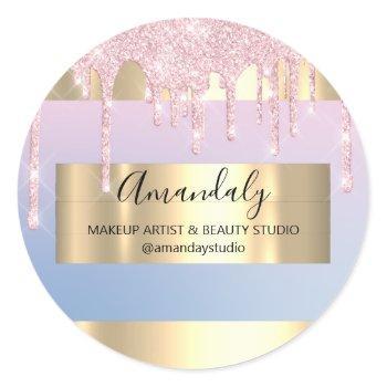 makeup artist glitter drip gold frame blue pink classic round sticker