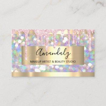 makeup artist glitter gold framed spark glitter business card