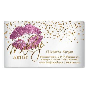 makeup artist - gold confetti & so pink lips business card magnet
