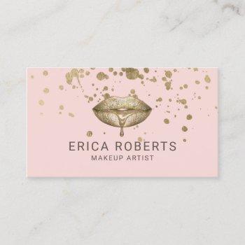 makeup artist golden lips blush pink gold splatter business card