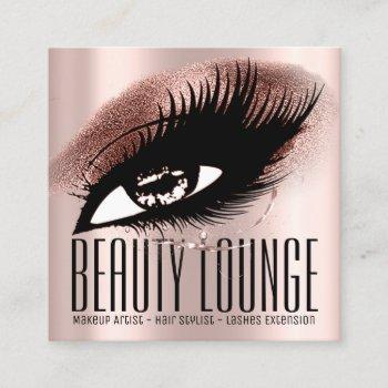 makeup artist hair eyelash lux rose professional square business card