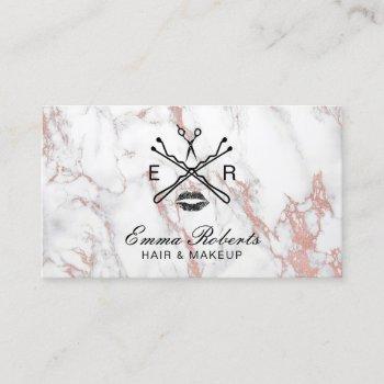 makeup artist hair salon beauty logo trendy marble business card