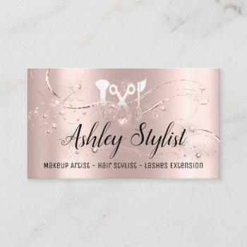 makeup artist hair salon lash  logo  blogger rose business card