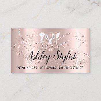 makeup artist hair salon lash  logo  blogger rose business card