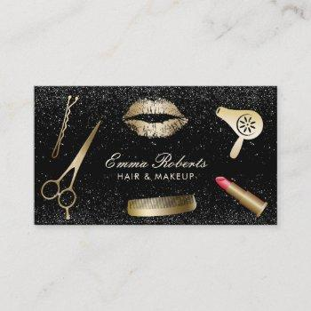 makeup artist hair salon modern black glitter business card