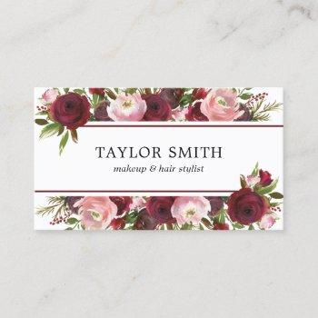 makeup artist hair stylist burgundy blush floral business card