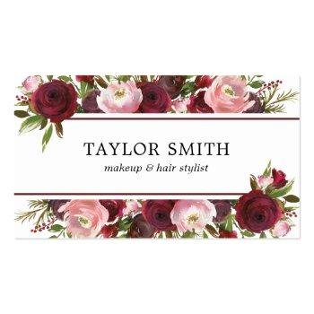Small Makeup Artist Hair Stylist Burgundy Blush Floral Business Card Front View