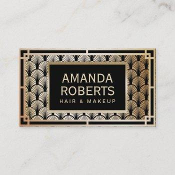 makeup artist & hair stylist elegant gold art deco business card