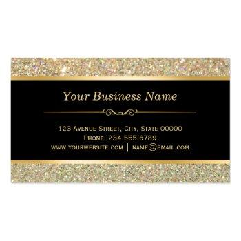 Small Makeup Artist Hair Stylist Funky Gold Glitter Business Card Back View