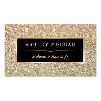 Small Makeup Artist Hair Stylist Funky Gold Glitter Business Card Front View