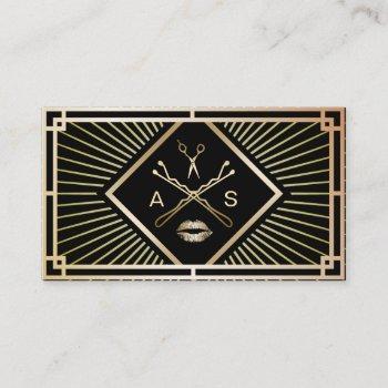 makeup artist & hair stylist modern gold art deco business card