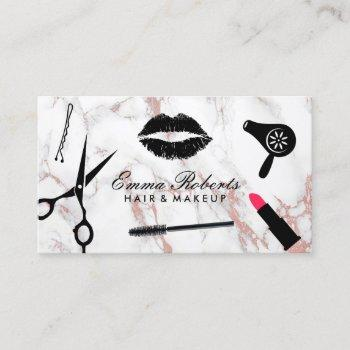 makeup artist hair stylist rose gold marble business card