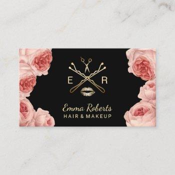 makeup artist & hair stylist salon vintage floral business card