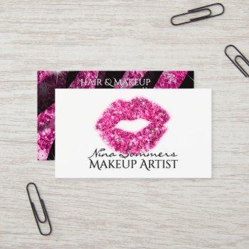 makeup artist hot pink glitter lips zebra print business card