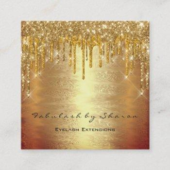 makeup artist lash drips mua lux warm gold square business card