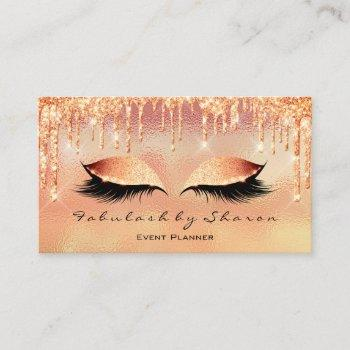 makeup artist lash eye glitter drips coral metal business card