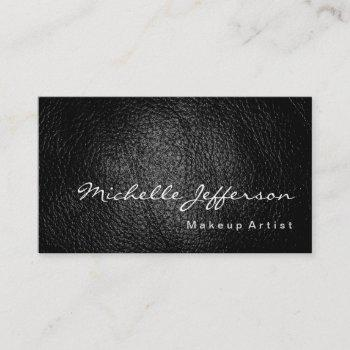 makeup artist leather background minimalist modern business card
