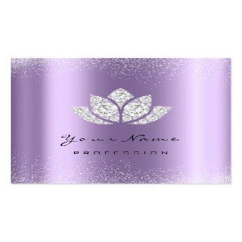Small Makeup Artist Lotus Mandala Diamond Purple Violet Square Business Card Front View