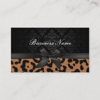 makeup artist luxury damask & leopard print business card