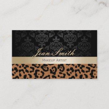 makeup artist modern leopard print gold stripe business card