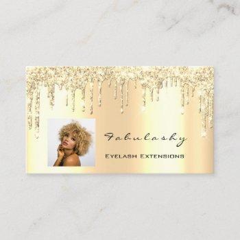 makeup artist mua lashes glitter drips gold photo business card