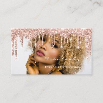 makeup artist mua lashes glitter drips rose photo business card