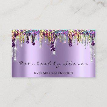 makeup artist nails eyelash drips purple holograph business card