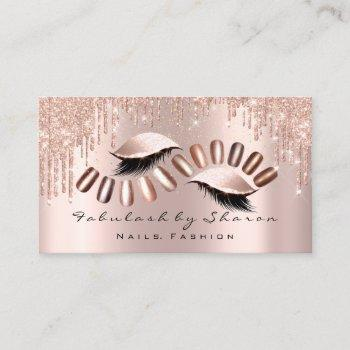 makeup artist nails glitter drips rose lash lux business card