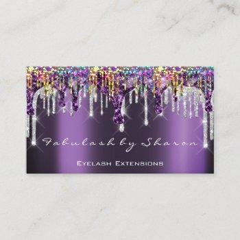 makeup artist nails silver drips purple holograph business card