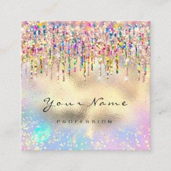 makeup artist nails unicorn gold holograph rose square business card