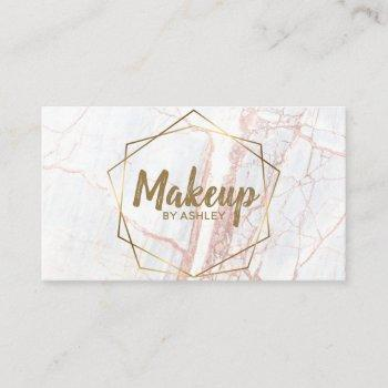 makeup artist pink marble geometric terrarium business card