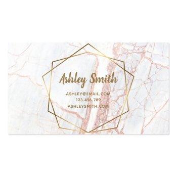 Small Makeup Artist Pink Marble Geometric Terrarium Business Card Back View