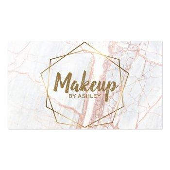 Small Makeup Artist Pink Marble Geometric Terrarium Business Card Front View