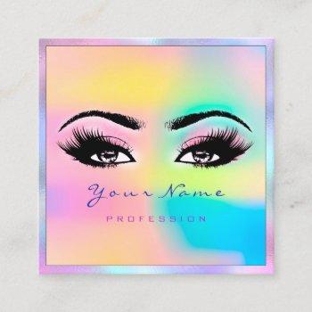 makeup artist professional eyeash holograph pink square business card