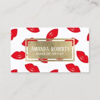 makeup artist red lips gold label beauty salon business card
