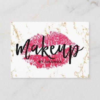 makeup artist red lips gold white marble salon business card