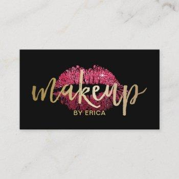 makeup artist red lips modern black & gold business card