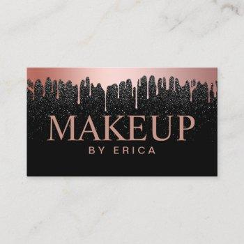 makeup artist rose gold drips trendy black glitter business card