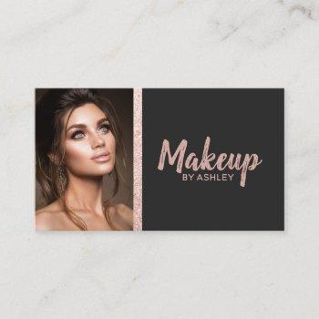 makeup artist rose gold glitter stripe black photo business card