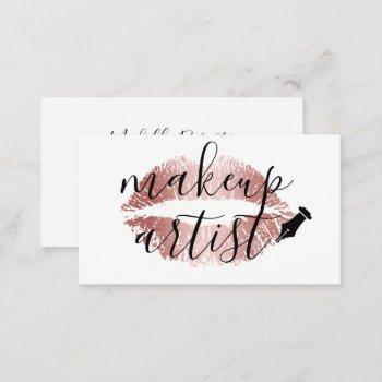 makeup artist rose gold lips elegant typography business card