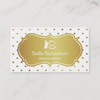 makeup artist stylist chic white gold polka dots business card