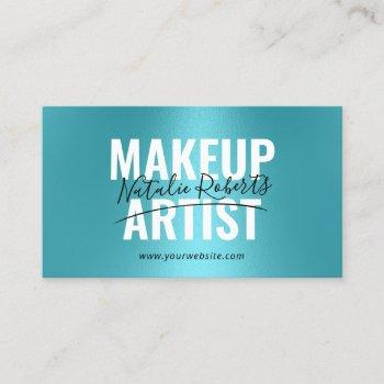 makeup artist turquoise bold typography signature business card