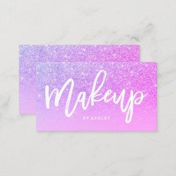 makeup artist typography pink purple glitter business card