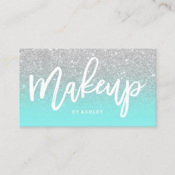 makeup artist typography silver glitter teal business card