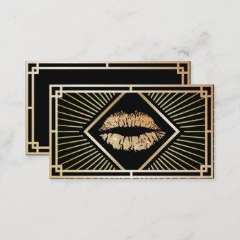 makeup artist vintage gold art deco beauty salon business card