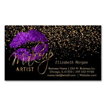 makeup artist with gold confetti & purple lips business card magnet