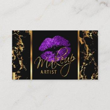 makeup artist with marble gold & purple accents business card