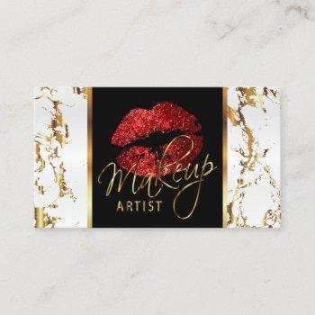 makeup artist with white marble gold & red accents business card
